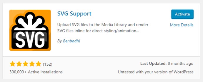 SVG Image WordPress Plugin Activate