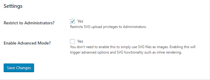 SVG Image WordPress Plugin Settings